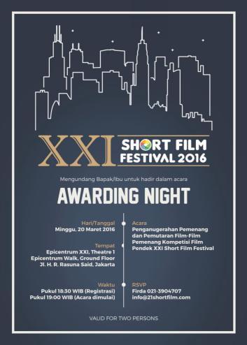 XXI Short Film Festival 2016-Invitation Awarding Night